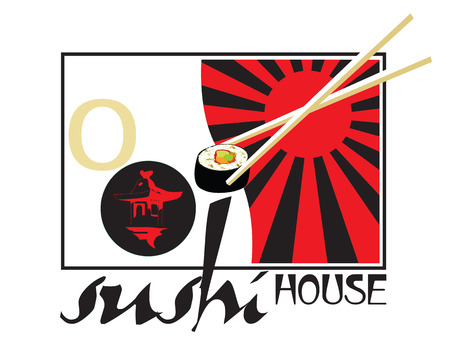 eatery: sign for a bar eatery sushi house Illustration