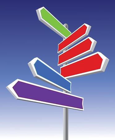 異なる方向と色の標識  イラスト・ベクター素材