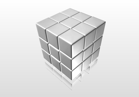 Gray cube into a trade with a mirror image of the gray surface photo