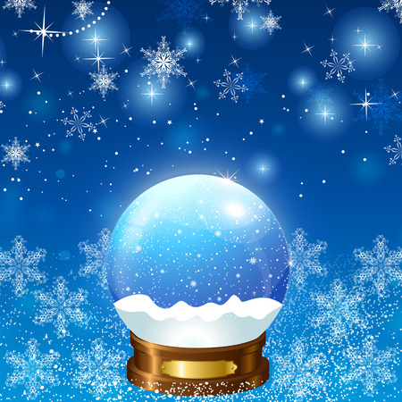 Christmas Snow Globe Loop on a background of bubbles and snowflakes winter interior
