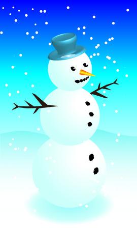 Snowman in blue hat in snowy weather Vector
