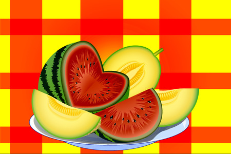 watermelon and melon cut into slices on a white plate Vector