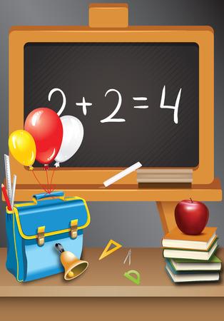 school desk with school ACCESSORIES on against blackboard Vector