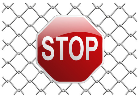 metal mesh fence as a background or object tryde with stop sign Vector