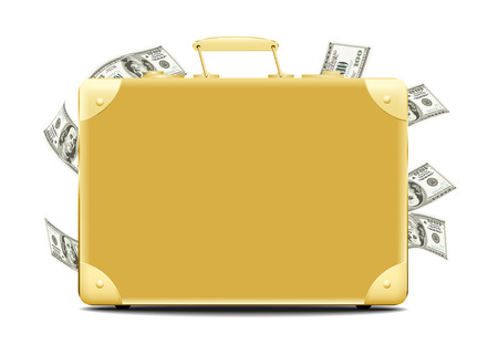 golden color: Suitcase full of money brownish golden color with throw out any money right Illustration