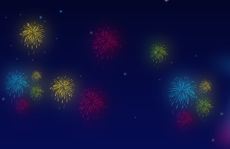 12 o'clock: fireworks against a night sky with stars Illustration