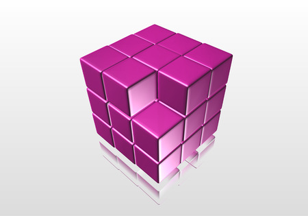 Purple cube into a trade with a mirror image of the gray surface photo