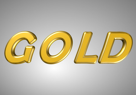 word gold golden letters nice font on a gray background photo