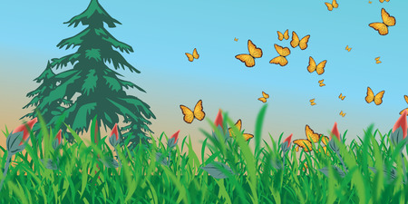 summer sky: Meadow with three trees and butterflies around them on a background of the summer sky