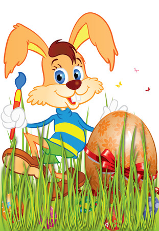 ribbon red: Easter Bunny with a brush in green grass Easter eggs at Easter one of which is decorated with a red ribbon red