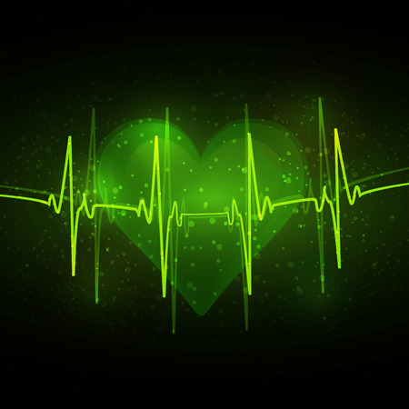 abstract cardiogram with heart in green tones Vector