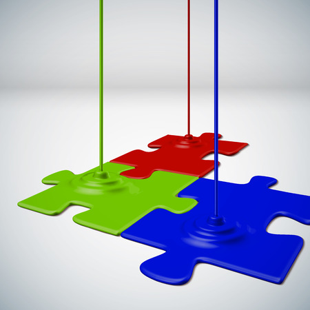 chipboard: red green blue paint spilled and created a color puzzle