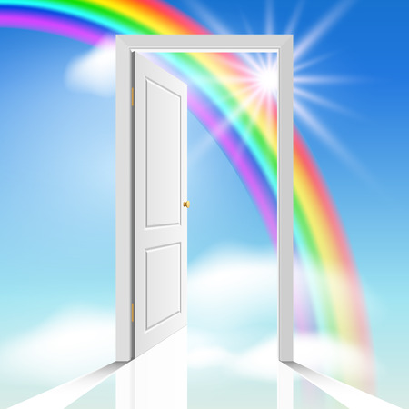 heavenly white door through which visible celestial cloud and sun Vector