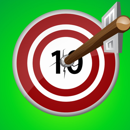 wooden arrow pierced the ten target Vector