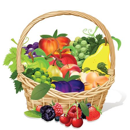 cuerno de la abundancia: fruta melocotón uva pera manzana ciruela frambuesa arándano fresa cereza en cesta de mimbre Vectores