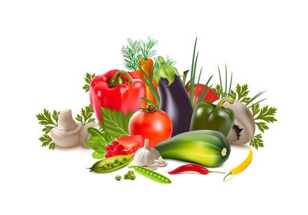 garden stuff: vegetables peppers eggplant tomato cucumber radish radish mushrooms peas carrots garlic mushrooms