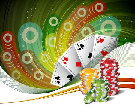 hold em: Poker  Four Aces  Chips for poker  Background play poker Illustration