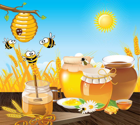 cute cartoons: Bee cocoon on a branch next to which bees are flying  Wooden table on which a vessel with honey  Summer landscape of wheat fields and sky  Illustration