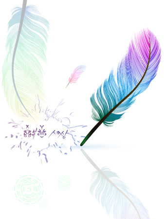 Multicolored feathers  Caption pen  the air light feathers  Vector