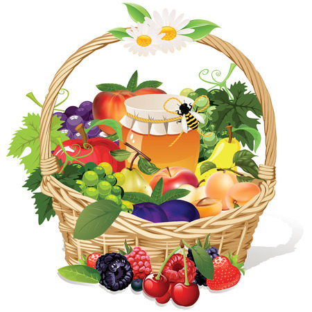 Korb mit Honig und Früchten Apfel, Traube, Pfirsich Birne Pflaume Himbeere Brombeere Heidelbeere Erdbeere Kirsche