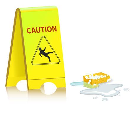 黄色シャツ注意の標識です。クリーニングについての警告のサインです。床に流出水。床にぬれたスポンジ