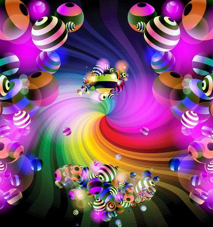hosszú expozíció: Színes háttér. Absztrakt színes spirál színes gömbök golyók