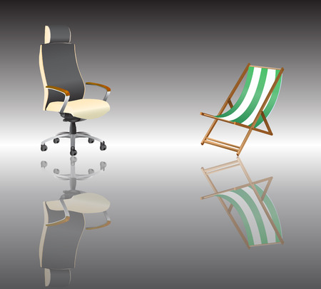 The office chair and leisure chair  Thoughts on holiday  The choice of work or leisure