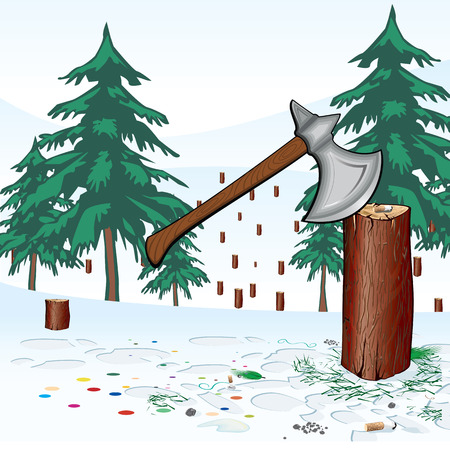 Take care of nature especially during the Christmas and New Year holidays.  Predominantly coniferous forest . Carved wood  Forest in which there were only stumps.  Axe in stump in the background of carved wood  Vector
