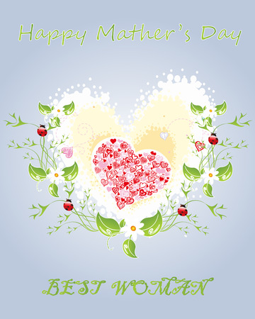 carny: Happy Mother s Day  The best woman  Vidkrytka greeting women  Vidkrytka with hearts and flowers  Illustration