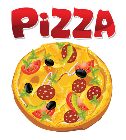 high angle view: Round pizza  Pizza with salami cheese tomatoes olive green onions