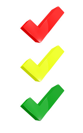 Red yellow green tick  Check in the form of light  Tick in tryde  Stock Illustratie