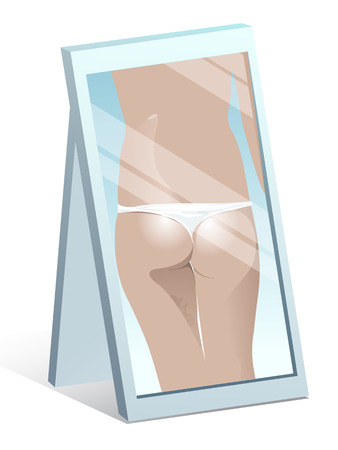 Reflection in the mirror back and buttocks sexy girl  Beauty in the mirror  The view in the mirror  Fashion  Vector