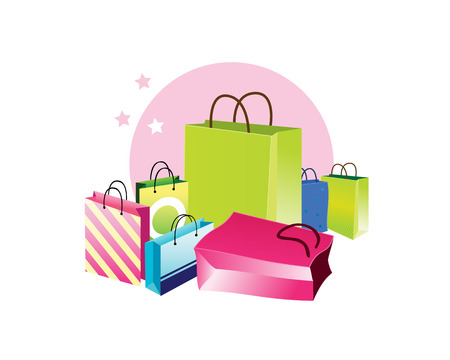 Shopping bags  Packets of different colors  Shopping beautiful packaging  Vector