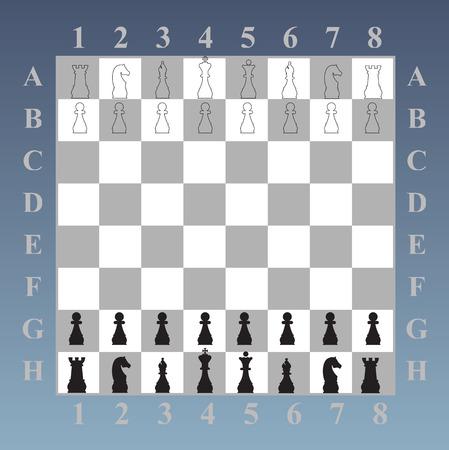 チェス盤にキング クイーン ナイト ルーク Peshka 役員チェスの駒の最初の位置