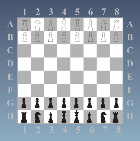 Chess board  King queen knight rook Peshka officer  The initial position of the chess pieces  Vector