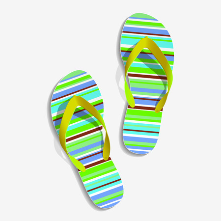 Striped beach slippers  Colorful beach slippers  Summer slippers  Vector