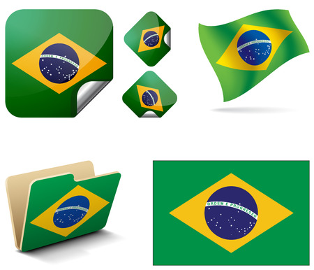 Flag of Brazil  Flag of Brazil, as a folder  Brazil flag in the wind  Flag of Brazil rombikom  Vector