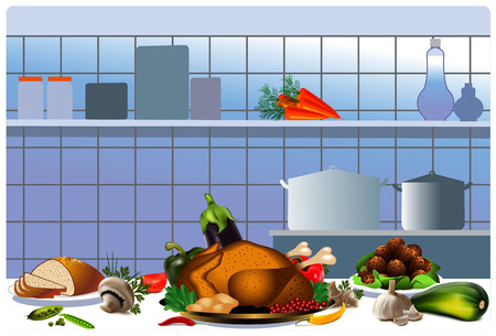 Kitchen  Cooked chicken  Cooked food in the kitchen  Fried meat balls  Vegetables mushrooms tomatoes eggplant pepper carrot peas and garlic  Bread  Kitchen with kitchen utensils  Vector