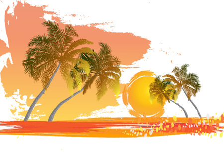 Palm trees at sunset  Rest in tropics  Maldives  Canary Islands  Evening at leisure  Vector