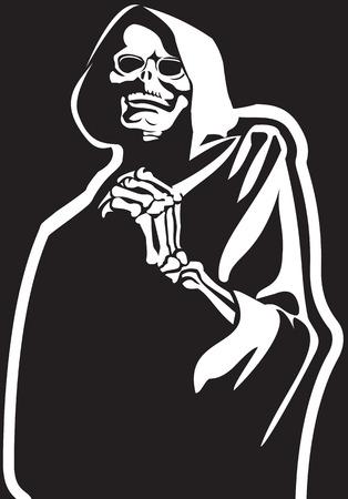 jeune fille adolescente nue: Mort Squelette v�tu d'une cape noire mysticisme religieux histoires d'horreur
