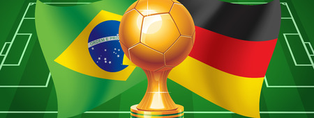 Germany or Brazil  Germany against Brazil  Who will win  Vector