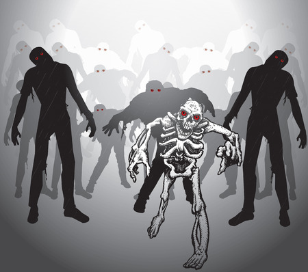 undead: Zombie apocalypse  Group of zombies and skeleton  Skeleton with red eyes  Zombies with red eyes  Crowd of zombies in the mist  Illustration