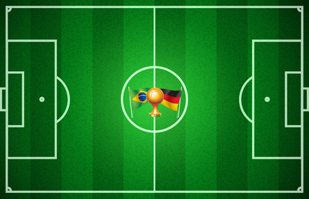 Brazil against Germany  Soccer field in the central circle which marks the teams that will play  Vector