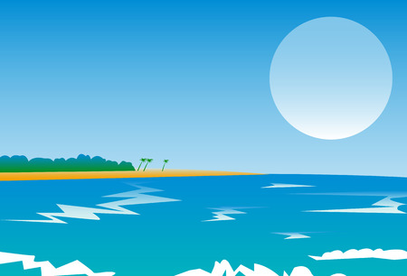 Sea view  Beach with palm trees and tropical trees  Landscape under the full moon  Vector