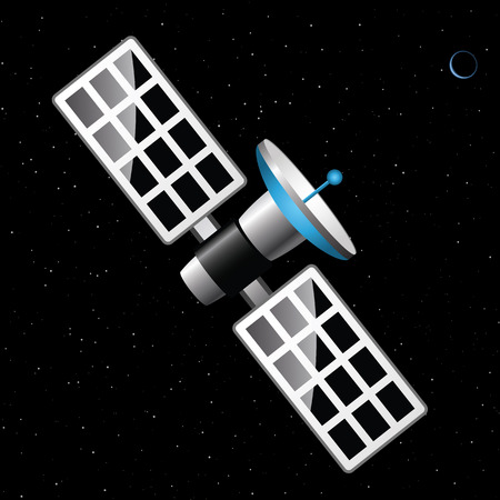 Satellite at the blue planet  Wandering satellite in space  Vector