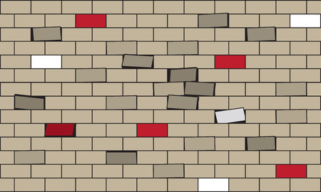 brownstone: White brick  A wall of bricks  The wall from which the bricks fall  Illustration