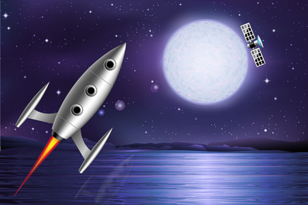 Rocket and satellite  Space planet  Rocket on an unknown planet  Vector