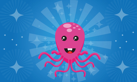 Pink octopus  Ylyustratsiya octopus  Abstract background of water  Vector
