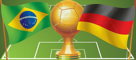 Brazil football team against the German national team in football  Who will win  Vector