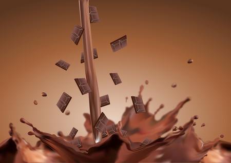 fondo chocolate: La ca�da de chocolate en el chocolate Barra de chocolate ca�da en el chocolate Vectores